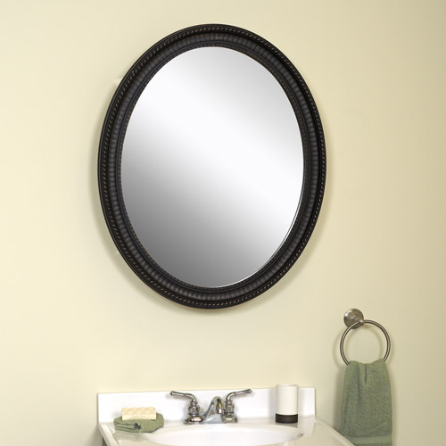 Zenith Oval Medicine Cabinet with Poly Frame, Oil Rubbed Bronze