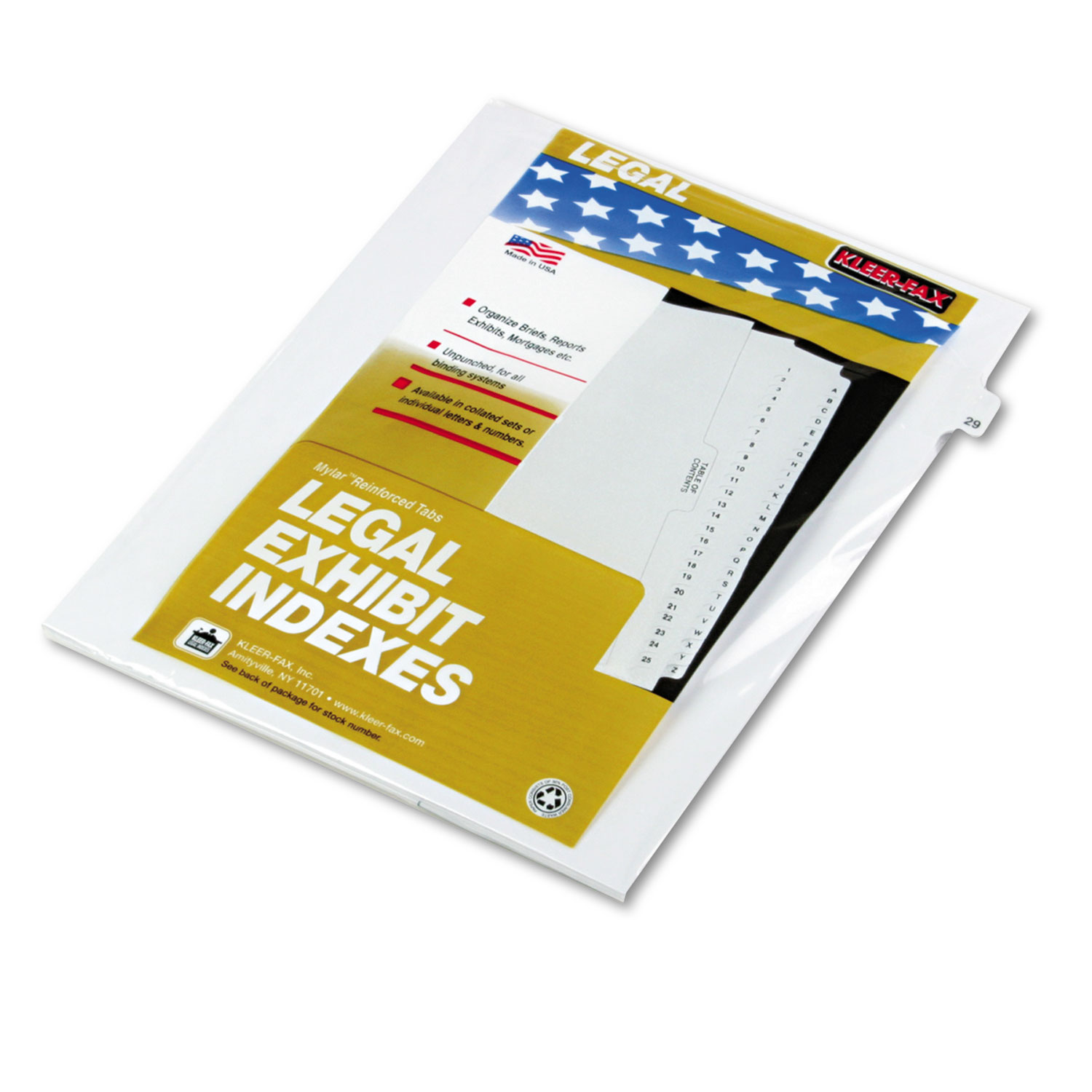 "80000 Series Legal Index Dividers, Side Tab, Printed ""29\ by Kleer-Fax"