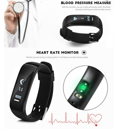 Fitness Tracker h Smart Bracelet Heart Rate Monitor Blood Pressure Sports Pedometer Waterproof Smart Band For Android iOS iPhone Xs/Xs Max/XR/X/8 Plus/8 - image 1 de 5