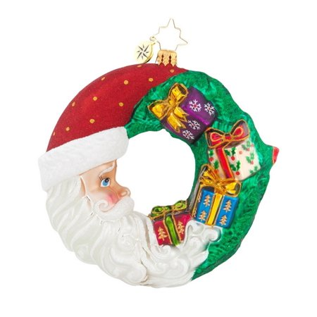Christopher Radko Glass Crescent Christmas Presents Santa Wreath Ornament #1017880