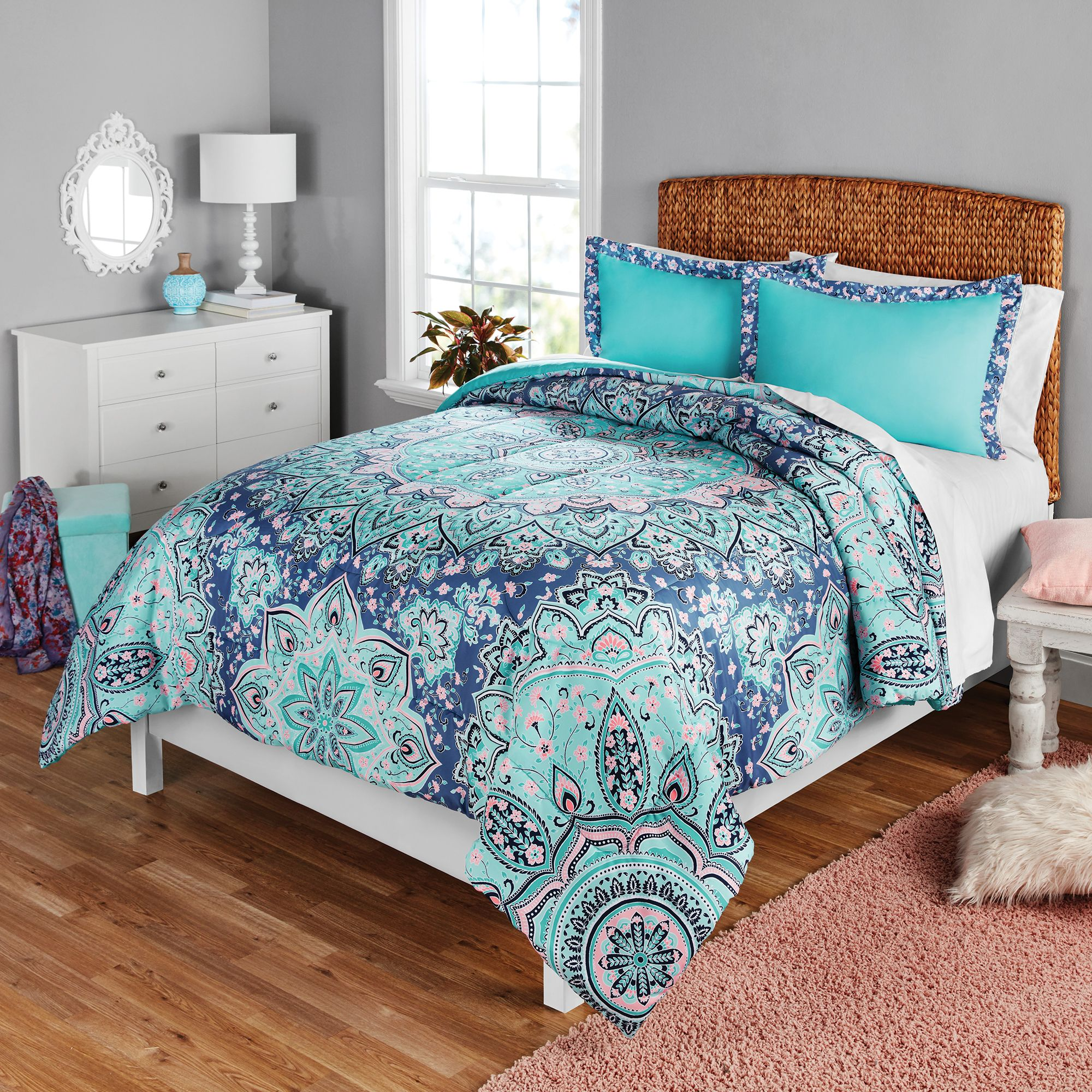 Your Zone Medallion Print Comforter and Sham Set