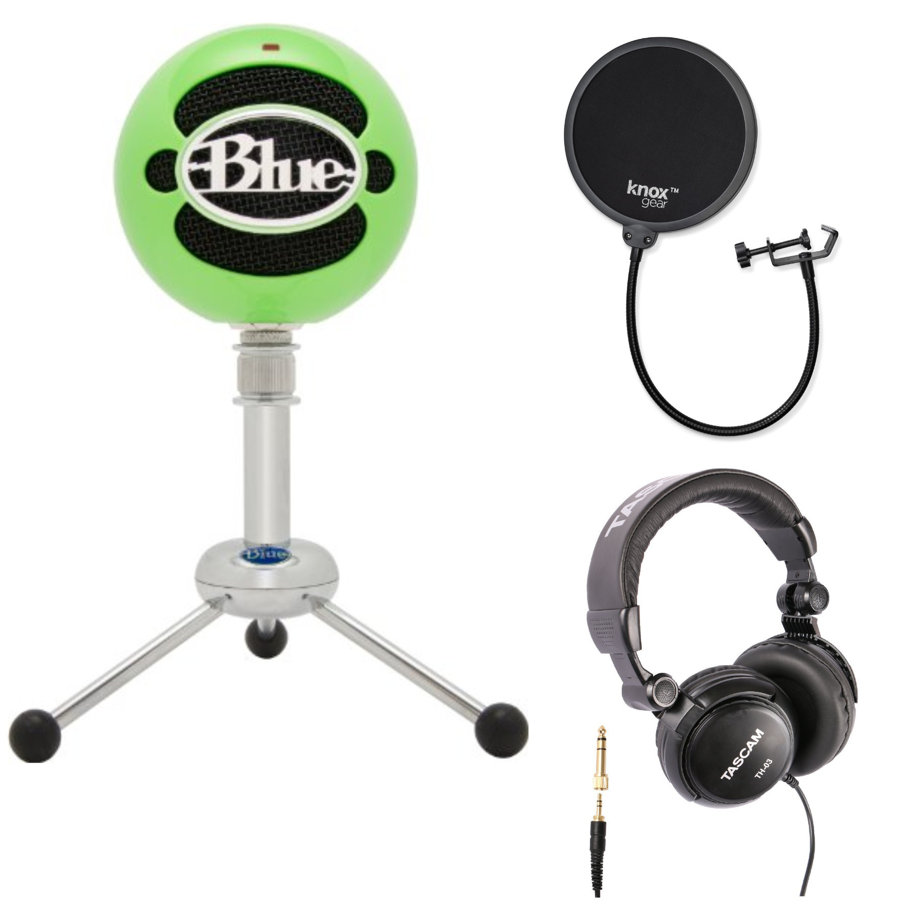 Blue Microphones Snowball-GN USB Mic (Neon Green) with Headphones and Pop Filter