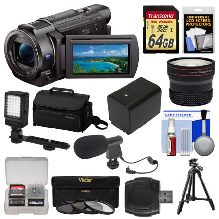 Sony Handycam FDR-AX33 Wi-Fi 4K Ultra HD Video Camera Camcorder + 64GB Card + Sony Case & Tripod + LED Light + Microphone + Battery + Fisheye Lens Kit