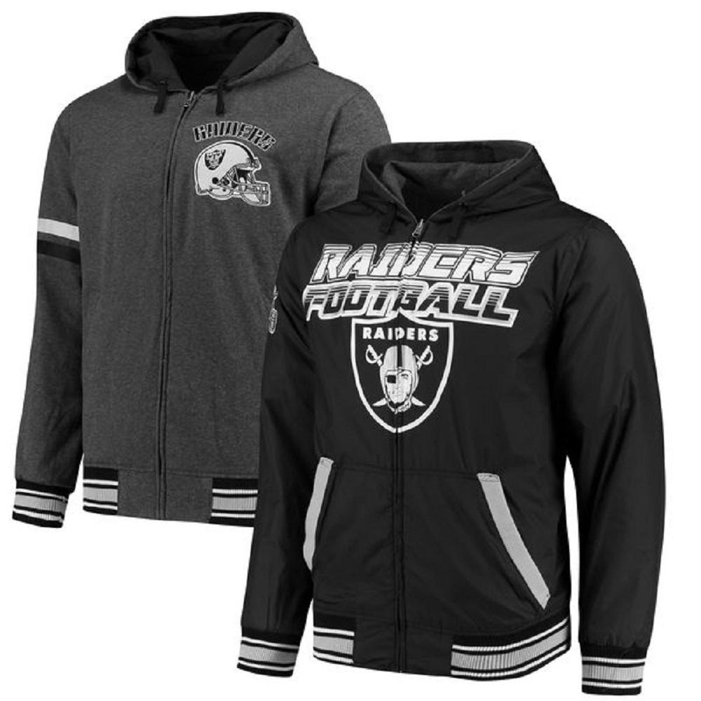 Oakland Raiders Men's  Black/Charcoal Hot Shot Reversible Full-Zip Hoodie