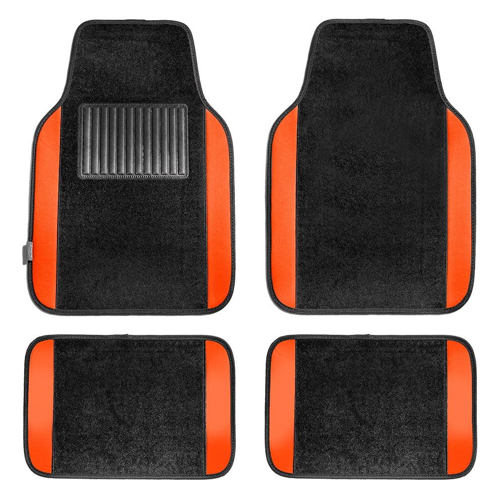 Carpet Floor Mats >> Fh Group Full Set Premium Carpet Floor Mats Orange