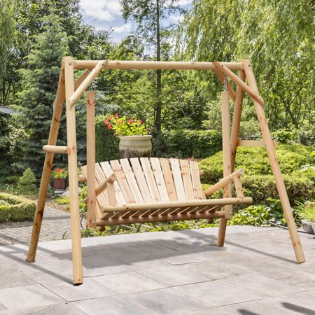 2 Person Porch Swing Rustic Patio Bench Outdoor Furniture W Armrest