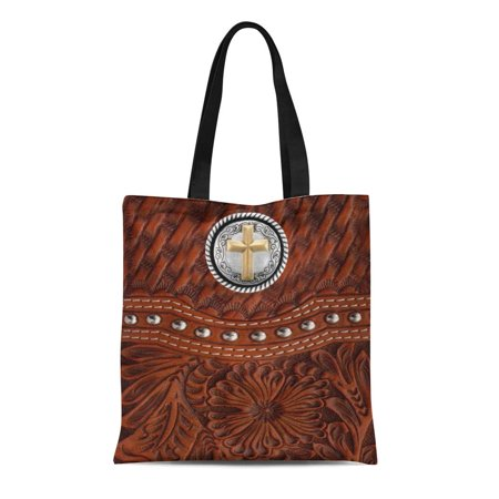 ASHLEIGH Canvas Tote Bag Southwest Western Tooled Gold Silver Styles Old West Faux Reusable Handbag Shoulder Grocery Shopping Bags