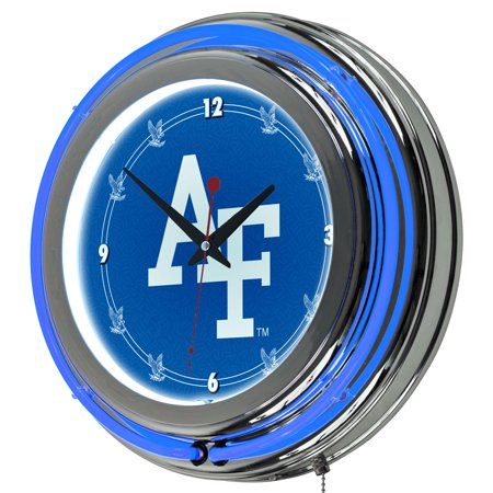 Air Force Falcons Chrome Double Ring Neon Clock Chrome Double Foot Ring
