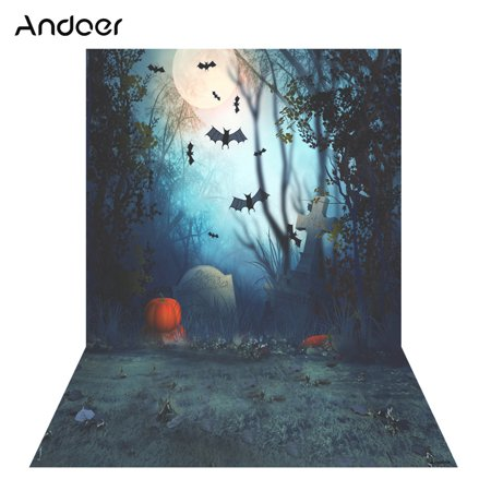 Andoer 1.5 * 2m Photography Background Backdrop Digital Printing Hallowmas Halloween Pumpkin Graveyard Bat Pattern for Photo Studio (Bts Halloween Photos)