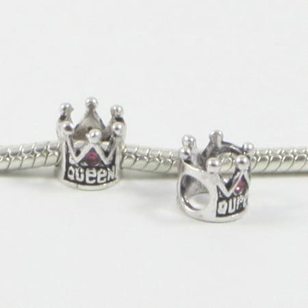 Beaded Crown (3 Beads - Pink Queen Crown Rhinestone Silver European Bead Charm)