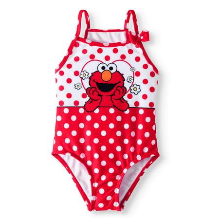 c3d161216e Sesame Street - Sesame Street Elmo Baby Toddler Girl Polka Dot One Piece  Swimsuit - Walmart.com