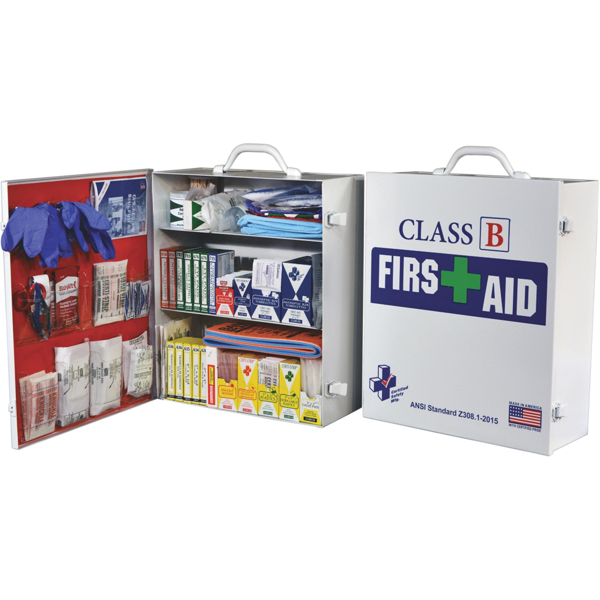 Click here to buy Certified Safety Class B ANSI & OSHA Certified Cabinet First Aid Kit by CERTIFIED SAFETY MFG.