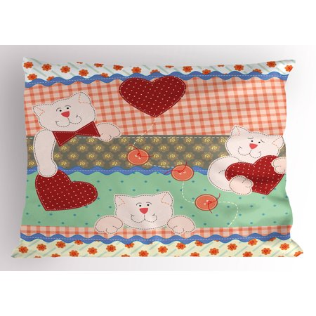 Patchwork Bear (Shabby Chic Pillow Sham Funny Teddy Bears with Hearts in Patchwork Style Cute Kids Theme Design Print, Decorative Standard Size Printed Pillowcase, 26 X 20 Inches, Multicolor, by)