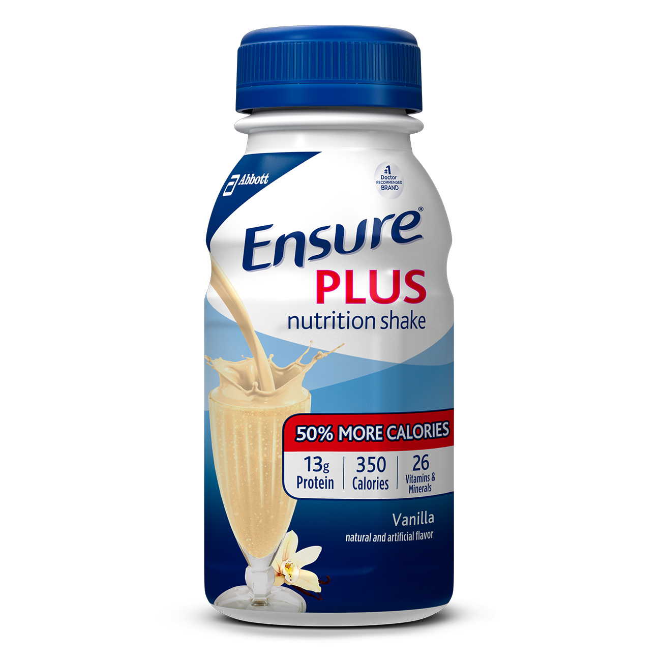 Ensure Plus Nutrition Shake Vanilla with 13 grams of protein, Meal Replacement Shakes, 8 Fl oz Bottles, 16 Ct