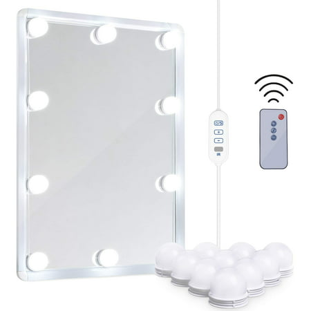 Led Vanity Mirror Lights Kit Remote Controlled Makeup Mirror Lighting Fixture With 2 Color