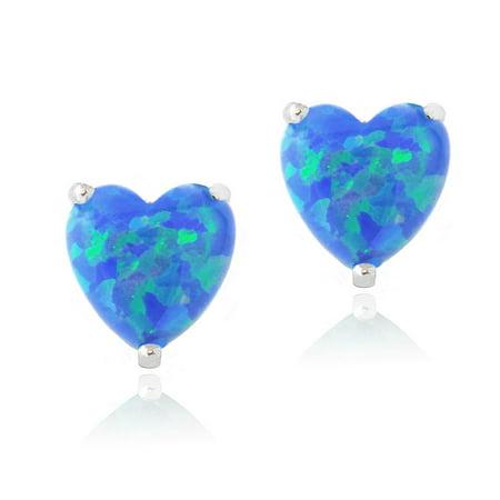 Sterling Silver Created Blue Opal Heart Stud Earrings,