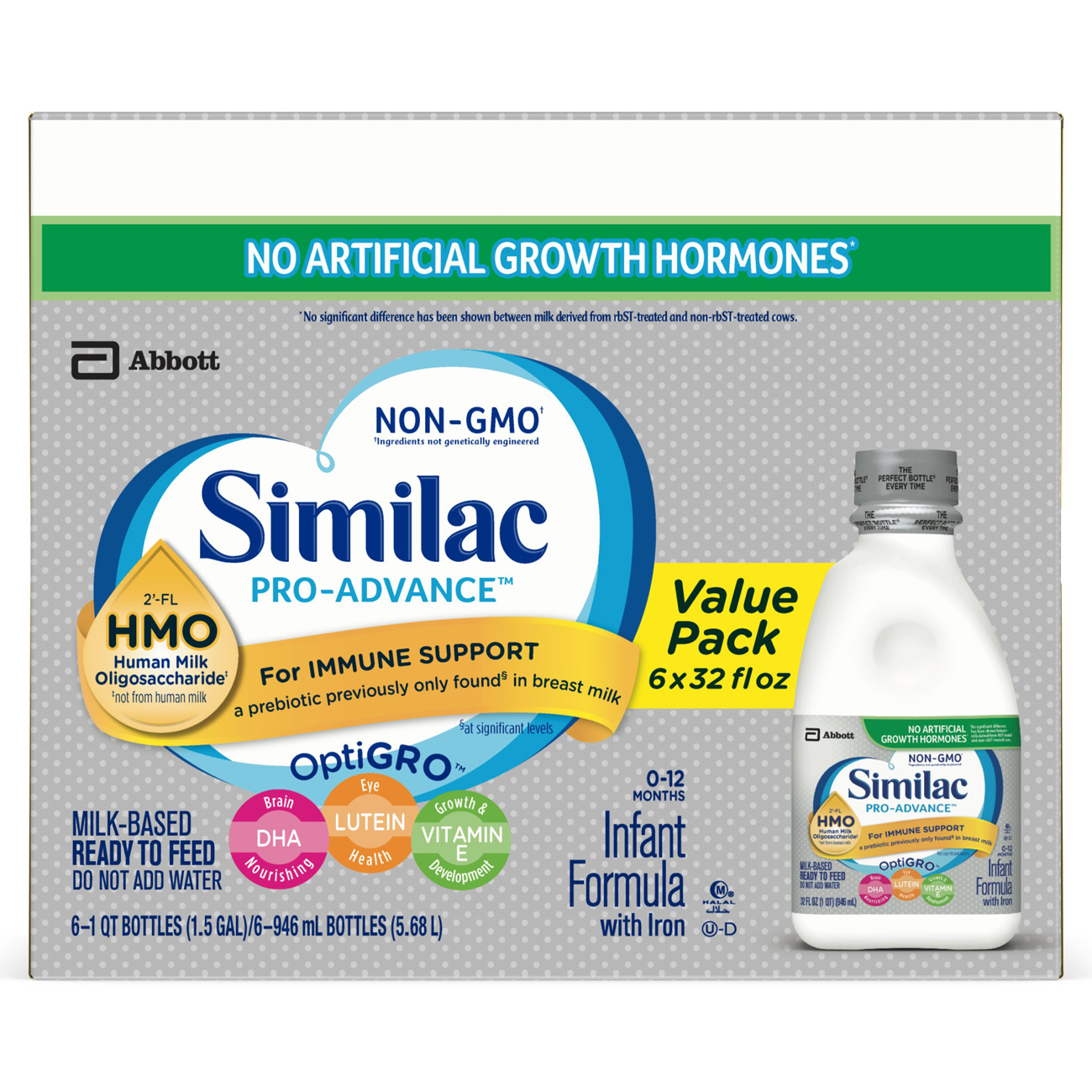 Similac Pro-Advance Infant Formula (6 Bottles) w/ 2'-FL Human Milk Oligosaccharide (HMO) for Immune Support, Ready to Feed, 1 qt