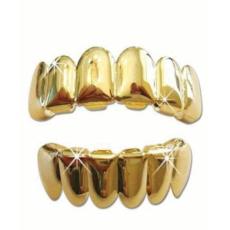 Gold Tone Hip Hop Teeth Grillz Top & Bottom Grill Set by Bywabee … - Fake Grill Teeth