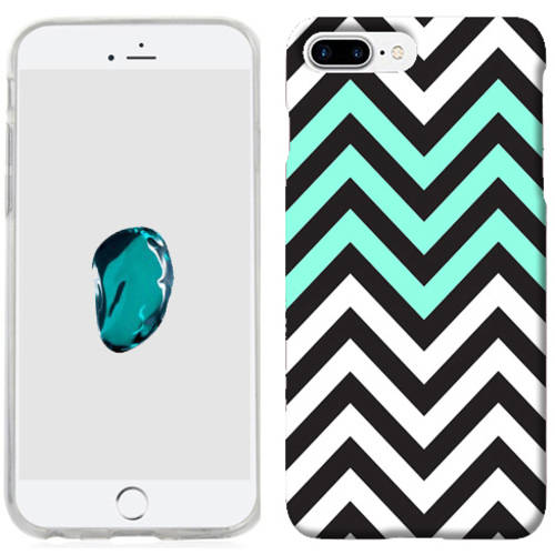 Mundaze Mint White Chevron Phone Case Cover for Apple iPhone 7 Plus