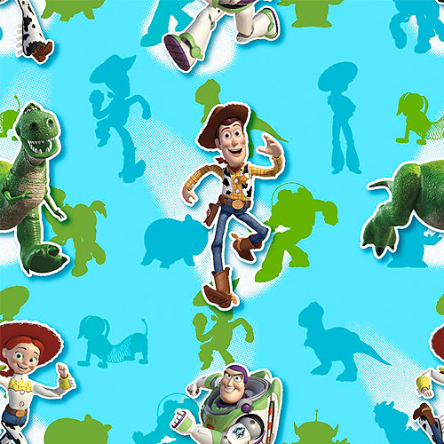 Creative Cuts Cotton Fabric, Disney Buzz and Gang Print, Turquoise