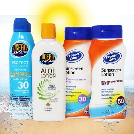 Ocean Potion and Premier Value Combo 4 Pack, OP Sport Cooling 30, OP Aloe Lotion, PV SPF 30 and PV SPF