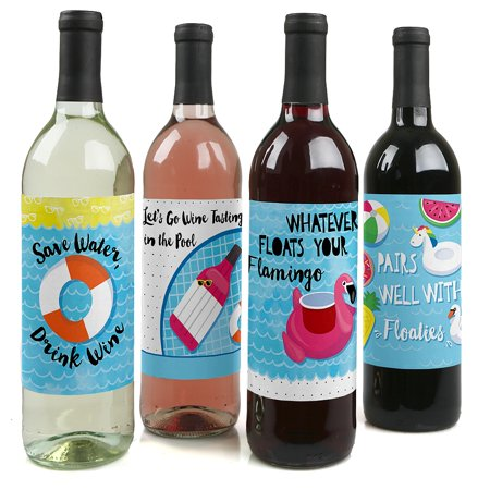 Make A Splash - Pool Party - Summer Swimming Party Wine Bottle Label Stickers - Set of - Pool Decoration Ideas