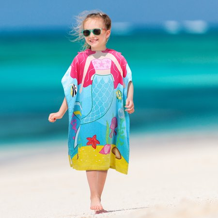 Hooded Bath Towel for 2 to 6 Years Girl,100% Cotton Water Absorption Beach Poncho Swim Changing Robe Mermaid Pattern - Swim Poncho Towel