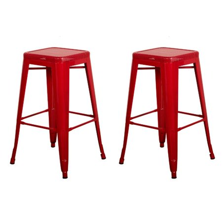 Remarkable Vogue Furniture Direct Barstool 30 Backless Top Mesh Metal Stools Red Set Of 2 Vf1571014 Machost Co Dining Chair Design Ideas Machostcouk