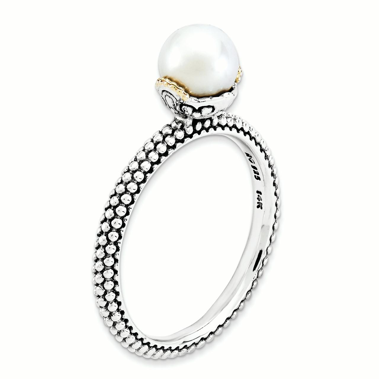 Sterling Silver & 14k Stack Exp. 7.0-7.5mm White FW Cultured Pearl Ring Size 8 - image 3 de 3