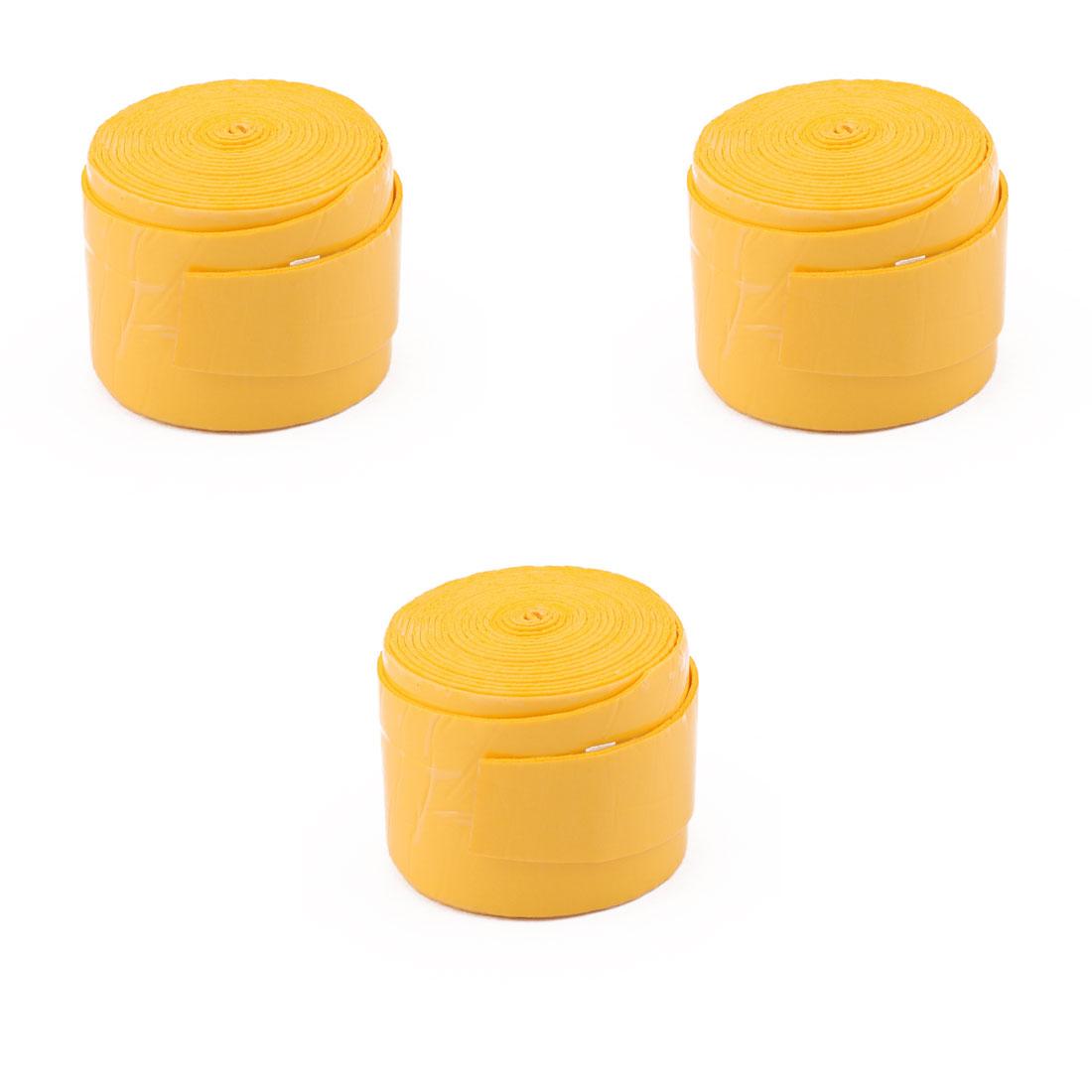 Badminton Foam Nonslip Racket Handlebar Sweat Absorbing Grip Tape Yellow 3 Pcs