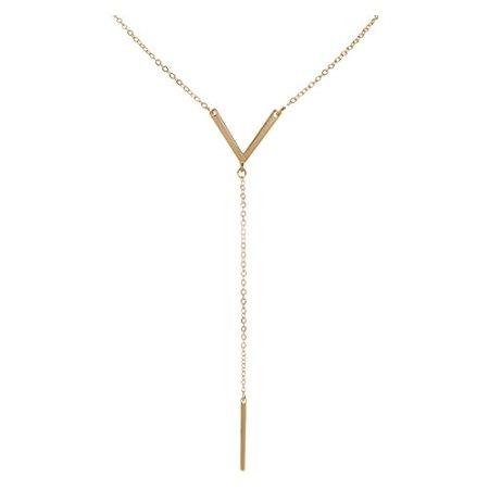 Long Lariat - Women's Y-Chain Bar Necklace - Adjustable Long Thin Delicate Chevron Choker Lariat, Gold-Tone