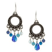 Lolas Jewelry Lola's Jewelry Silver 'Crazy About Blue' Crystal Chandelier Earrings