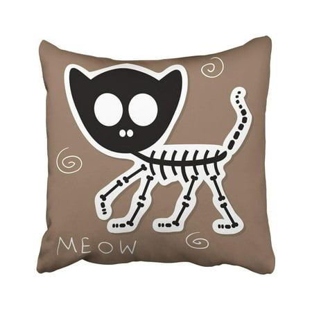 ARTJIA Halloween Of Funny Cat Skeleton Cute Kitty Animal Baby Babyish Bone Childish Pillowcase Throw Pillow Cover Case 18x18 inches