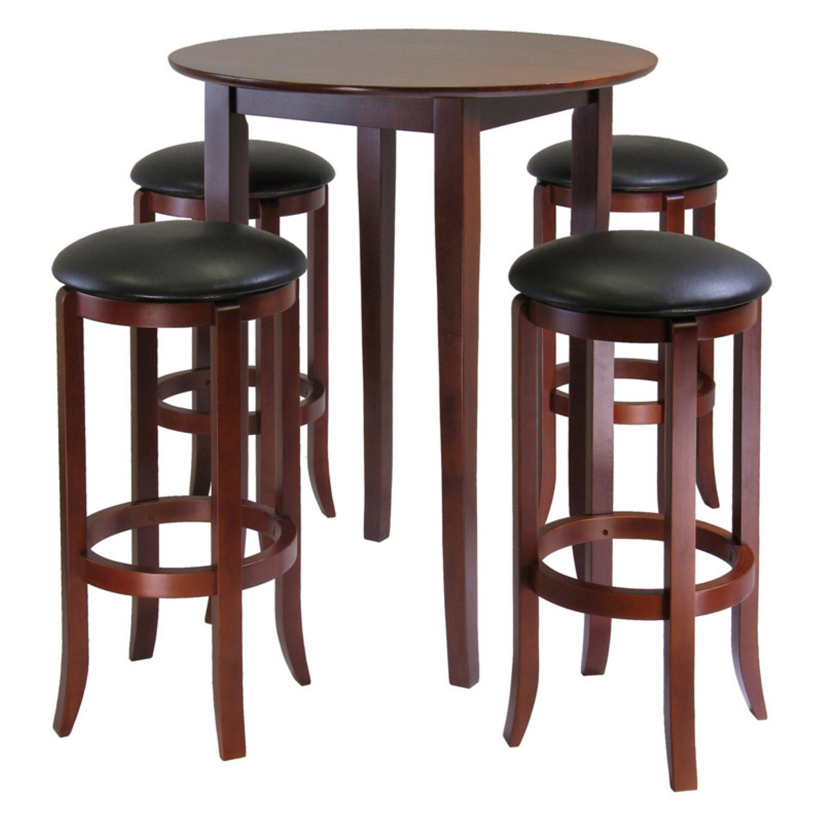 Fiona Round 5pc High Pub Table Set with PVC Stools by Visiondecor Furniture