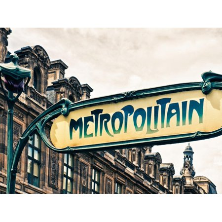 Art Deco Metropolitain Sign, Metro, Subway, the Louvre Station, Paris, France, Europe Print Wall Art By Philippe Hugonnard ()