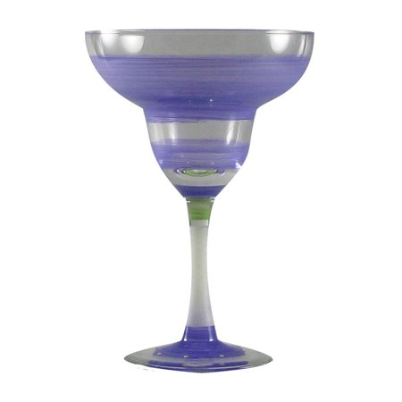 Set of 2 Purple Retro Stripe Hand Painted Margarita Drinking Glasses - 12 Ounces