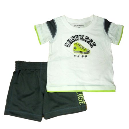 Converse Infant Toddler Boys 2 Piece Athletic T-Shirt Gray Mesh Shorts - Kids Converse Sale