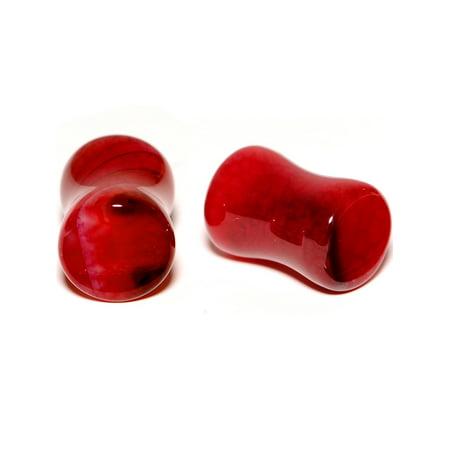 Body Candy 0 Gauge Unisex 2PC Organic Solid Red Stone Saddle Plugs Double Flare Plug Set Ear Plug Gauges