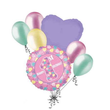 7 pc Holographic Pink 1st Happy Birthday Balloon Bouquet Party Decoration Hearts