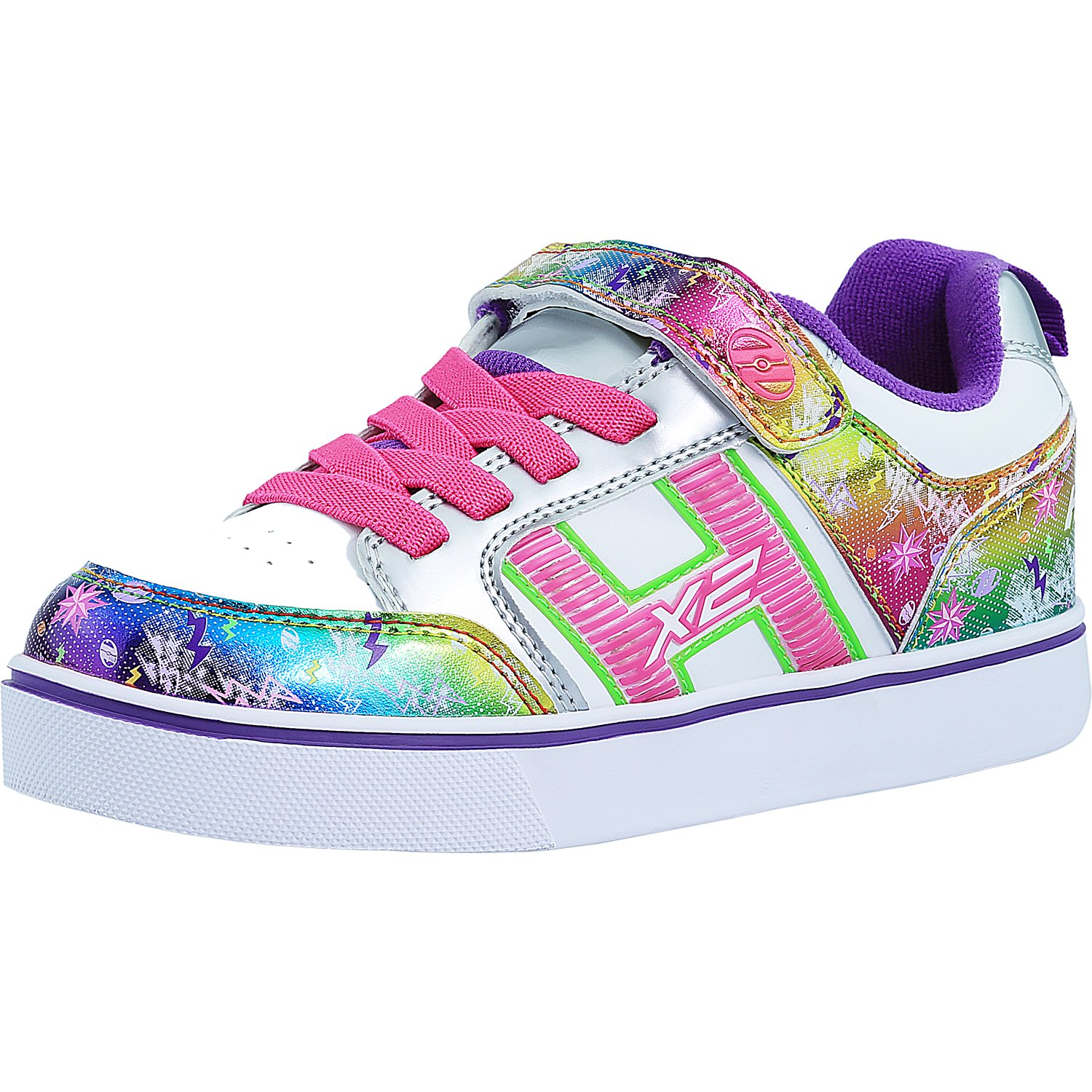 Heelys Bolt Plus X2 White / Silver / Rainbow Ankle-High Fashion Sneaker - 3M
