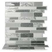 "Tic Tac Tiles - 12""x12"" Premium Anti Mold Peel and Stick Wall Tile Backsplash in Polito Grey (5 Tiles)"