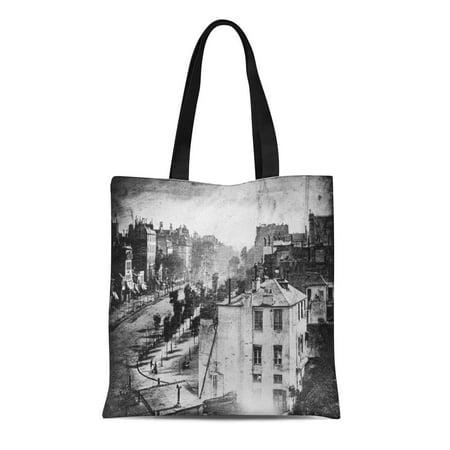 HATIART Canvas Tote Bag Paris Boulevard Du Temple Rue Architecture Daguerre Louis Daguerreotype Reusable Handbag Shoulder Grocery Shopping Bags - image 1 of 1