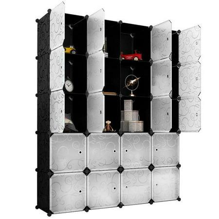 Langria 20 Storage Cube Organizer Wardrobe Modular Closet Plastic Cabinet Cubby Shelving Drawer Unit Diy Bookcase System With