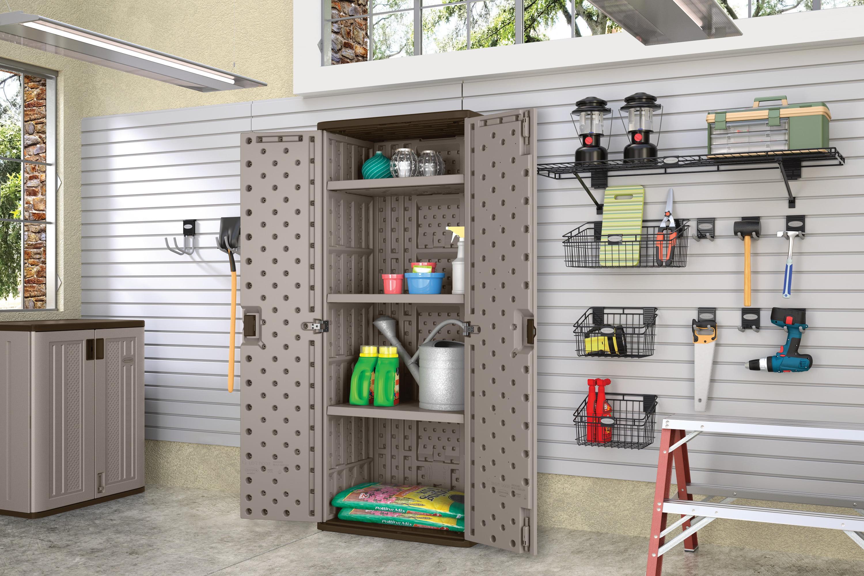 Suncast Tall Resin Storage Cabinet Locker Platinum Bmc7200