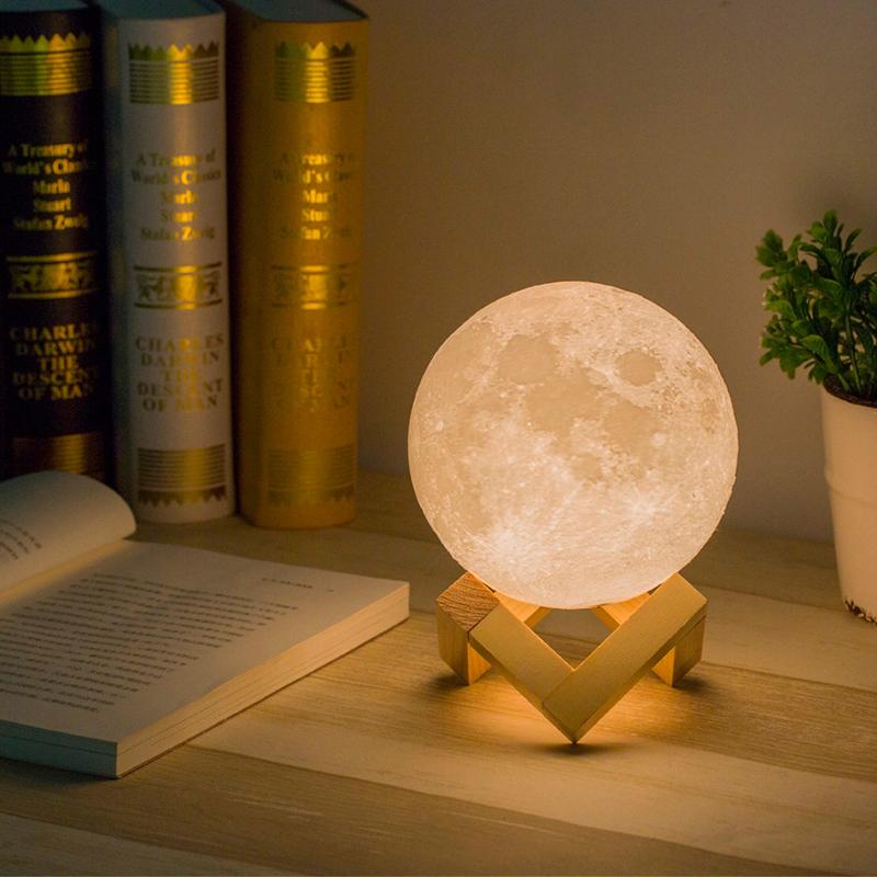 Redcolourful moon lamp 3d lunar moon night light migoom led full moon light for