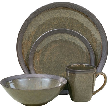 Sango Omega Olive Mixed 16 Piece Set, Including 4 Dinner Plates, 4 Salad Plates, 4 Soup Bowls, and 4 Mugs - Walmart Plates And Bowls