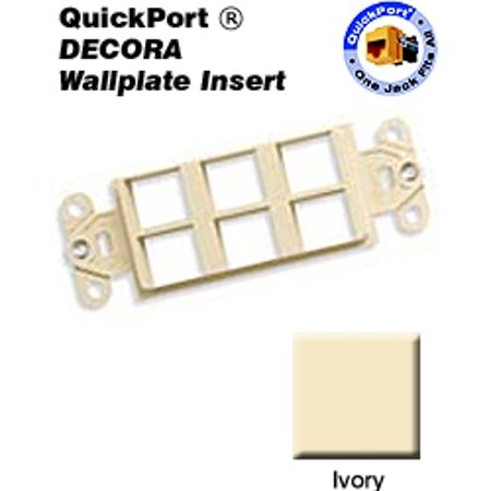 Leviton 40756-BI 6 Port QuickPort Decora Wallplate Insert -