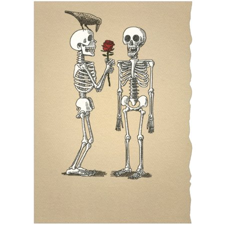 Recycled Paper Greetings Two Skeletons With Rose Romantic Halloween Card