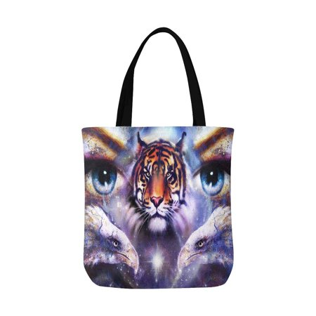 Womens Tiger Eye (ASHLEIGH Abstract Eagles and Tiger with Woman Eyes in Space With Stars Canvas Tote Canvas Shoulder Bag Resuable Grocery Bags Shopping Bags for Women Men)