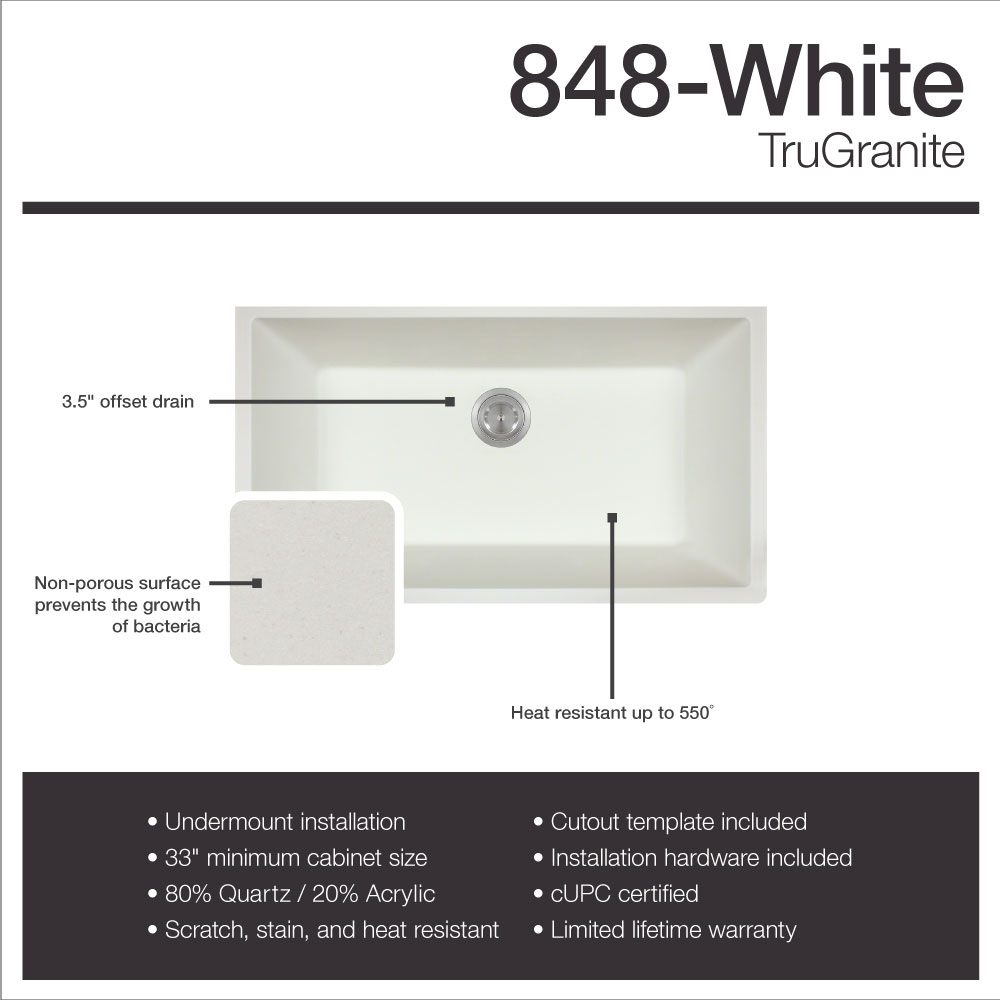 Mr Direct 848 White Undermount Composite Granite 32 5 8 In Single Bowl Kitchen Sink Ensemble With One Strainer Walmart Com Walmart Com